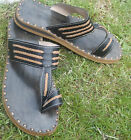 MENS 100% MOROCCAN LEATHER SANDALS * BLACK  * FLIP FLOPS * 5 SIZES