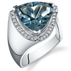7.00 cts Trillion Cut London Blue Topaz Ring Sterling Silver Size 5 to 9