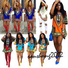 Women Traditional African Print Dashiki Dress Short Sleeve Party Shirt Dress HOT
