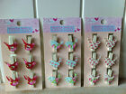 WOODEN PEGS 6 BIRD CLIPS DECORATIVE FLORAL CHINTZ PAPER CLIP MEMO BOARD