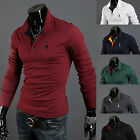 New Mens Stylish Slim Fit Cotton Long Sleeve Casual Polo Shirts T-shirt Tee Tops