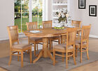 VANC7-OAK 7 Piece dining room set Table with a Leaf and 6 Dinette Chairs