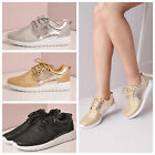 Womens Gym Sports Trainer Glitter Fitness Lace Up Casual Shoes Metallic Running