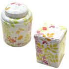 Virojanglor Tea Sugar Coffee Sweet Caddie Storage Tin Floral Leaf Design New VJ