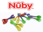 Nuby Baby Toddler Easy Grip Fun Feeding Forks Spoons 2 SETS - BPA FREE 18 m+ NIP