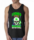 Stoned To The Bone Gettin High Weed Marijuana Skulls 100% Cotton Tank Top