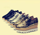 Womens Creeper Platform Metallic Color Oxford Wedge Lace Up Chunky Shoes