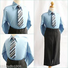 Adorable Navy blue Boy long sleeve formal dress shirt matching tie all sizes