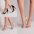Womens Ladies Chic Stiletto Heel Peep Toe Classic Sandal Ankle Strappy Shoes