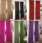 SOLID GROMMET FAUX SILK WINDOW CURTAIN PANEL DRAPE 63 84 95 108 MANY COLOR MIRA