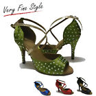 New Women Diamante Latin Ballroom Salsa Dance Shoes Tango Dancing Shoes Size 5-9