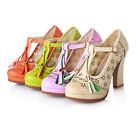 Sweet womens fashion tassel block heel hollow out round toe t-strap pumps shoes