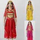 Girls Belly Dance 5pcs【Top+Skirt+Coin Belt+Veil+Hair Wear】Bollywood Costume AC07