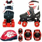 SK8 Zone Quad Skates Padded Kids Roller Boots Safety Pads Helmet Skate Xmas Gift <br/> Childrens Adjustable Complete Set 3 Sizes Available New