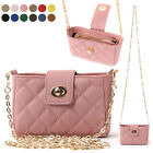 WOMEN'S HANDBAG MINI PURSE QUILTED CHAIN CROSSBODY BAG GENUINE COWHIDE LEATHER
