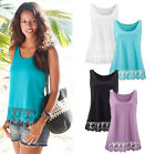 Fashion Women Summer Lace Vest Top Sleeveless Casual Tank Tops T-Shirt Blouse