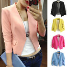 New Ladies Womens Smart Slim Fit Suit Blazer Jacket Coat Long Sleeve Size XS-L