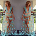 Women Summer Long Sleeve Lace Blue Casual Evening Party Cocktail Maxi Dress New