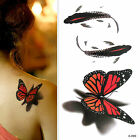 Women 3D Temporary Colorful Butterfly Tattoo Sticker Body Art For Kids Adults