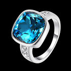 Fashion Women Blue Czech Silver Plated Crystal Gemstone Ring Jewelry Size 6 8