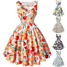 Ladies Vintage 1950s Floral Print Pinup Swing Party Evening Bridesmaids Dress