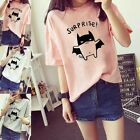 """Women Lady Casual Summer Short Sleeve Loose T-Shirt Student Top """"Suprise"""" Blouse"""