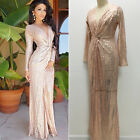Sexy Women Sheer Sequins  Long Sleeves Slim Party Club Wedding Formal Long Dress