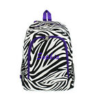 Personalized ZEBRA Purple LARGE School Bag Backpack Monogram Embroidery Name