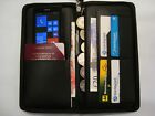 Large Leather Organiser Wallet for Travel Passport Documents with Wrist Strap