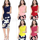 WOMENS SUMMER FLORAL PRINT PATCHWORK BODYCON CASUAL WORK OFFICE PENCIL DRESS