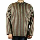 Mens Stripe Light Cotton Grandad TOP Festival Full Sleeved Hippie Collarless