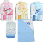 BABY BATH HOODED TOWEL w WASHCLOTHS 6pc GIFT SET Blue Whale Pink Owl Yellow Duck