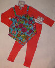 NWT Boutique COTTON KIDS Knit 2in1 WINTER ROSES Tunic 2pc Pant SET