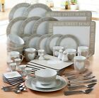 70 PIECE SCRIPT SHABBY CHIC ROUND BEIGE PINK DUCK EGG WHITE DINNER SERVICE SET