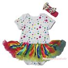 Plain Cotton Polka Dots Bodysuit Rainbow Striped Girls Baby Dress Outfit NB-18M