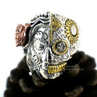 925 Sterling Silver Sugar Skull Mexican DAY OF THE DEAD Roses Lady Ring A3397
