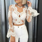 New Sexy Women/Lady Deep V Neck Lace Blouse Trumpet Sleeves Tops Crochet Shirt