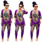 Women vintage Traditional African Casual Clubwear Top + pants trousers shirt NEW