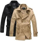 KHF1035 New Mens Casual Double Breasted Trench Slim Fit Coats Jackets 2 COLOUR