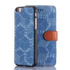 2in1 Water Cube Denim Jean Magnet ID Card Stand Case Cover For 4.7'' iPhone 6/6S