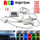 4X RGB 5050 LED SMD Headlight Multi-Color Halo Ring Bulb Light Kit Angel Eye 12V