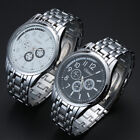 Military Silver Watch Men Sport Male Watches Date Stainless Steel Wristwatch New
