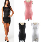 New Summer Women Sleeveless Hollow Out Foral Lace Bodycon Cocktail Evening Dress
