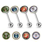 "14 Gauge 5/8"" US Military Logo Print Inlayed 316L Surgical Steel Barbell T215"