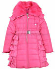 Le Chic Girl's Puffer Coat with Ruffles Hot Pink, Sizes 3-14