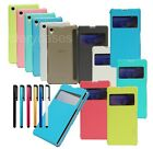 View Color Front Window Flip Case Transparent Cover for Sony XPERIA Z1 + Stylus