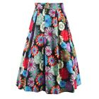 Women Stretch Floral Polka Dot/ Printed High Waist Flared Pleated Skirt Dress