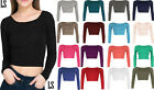 New Ladies Crop Top Crew Scoop Neck Long Sleeve Short T Shirt Womens Bralet 8-14