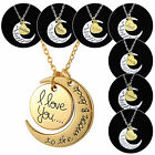 Fashion I LOVE YOU TO THE MOON AND BACK Moon Charm Pendant Necklace Family Gifts
