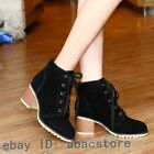 Faux suede womens block low heel retro girls punk lace up ankle boots vintage